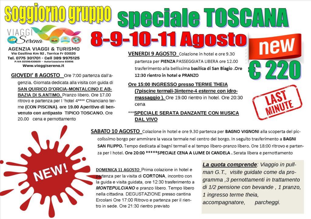 Viaggi di Gruppo : soggiorno in TOSCANA ...gusto e relax 8-9 ...